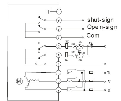 ac380v三相电源电动蝶阀接线图